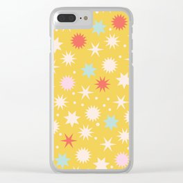 Vintage Christmas Wrapping Paper Pattern Design Mustard Stars & Dots Clear iPhone Case