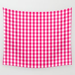 Hot Neon Pink and White Gingham Check Wall Tapestry