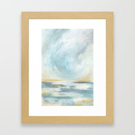 Thankful - Gray and Yellow Ocean Seascape Framed Art Print