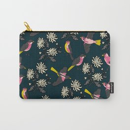 Pink Birds and Flowers Carry-All Pouch