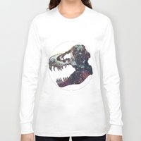 trex Long Sleeve T-shirts featuring Galaxy trex by Fallen amongst the wolves