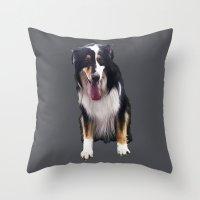 karen Throw Pillows featuring Karen dog by Pop Art Pet Portraits