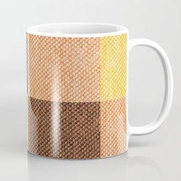 Fall Mustard Orange Golden Brown Checkered Gingham Patchwork Color Coffee Mug