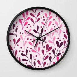 seaweed lilac and magenta botanical plants seamless pattern Wall Clock