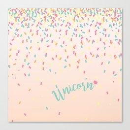 Unicorn and confetti love Canvas Print