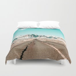 Vintage Desert Road // Winter Storm Red Rock Canyon Las Vegas Nature Scenery View Duvet Cover