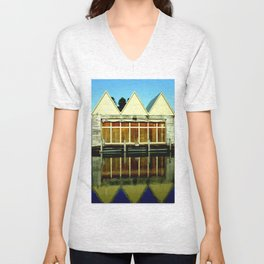 Reflections of an old boat Building! Unisex V-Neck