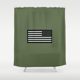 IR U.S. Flag on Military Green Background Shower Curtain