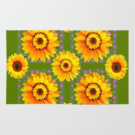 GEOMETRIC SUNFLOWERS AVOCADO-GREEN ART Rug