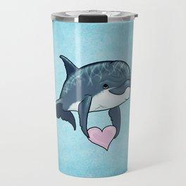 Love Ya! ~ Baby Dolphin by Amber Marine ~ Blue ~ (Copyright 2014) Travel Mug