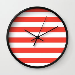 Even Horizontal Stripes, Red and White, L Wall Clock