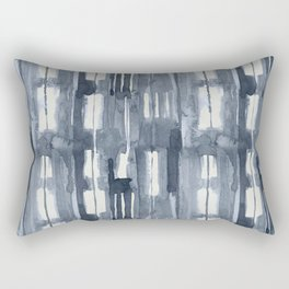 Simply Shibori Lines in Indigo Blue on Lunar Gray Rectangular Pillow