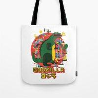 godzilla Tote Bags featuring GODZILLA by Katboy 7