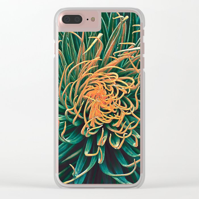 Green & orange succulent Clear iPhone Case