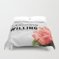 motivation Duvet Covers featuring Knowing motivation quote by Juliana RW