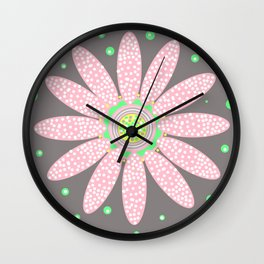 Daisy Dot pink and grey motif Wall Clock