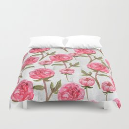 Pink Peonies On White Chalkboard Duvet Cover