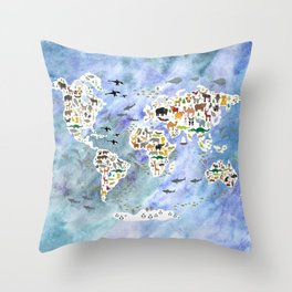 Cartoon animal world map, back to school. Animals from all over the world, blue watercolor  Throw Pillow