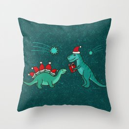 Cute Christmas Dinosaurs with Gift, Santa's Hats and Falling Stars, Teal Green Colors Throw Pillow