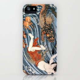 Tamatori being pursued by a dragon iPhone Case