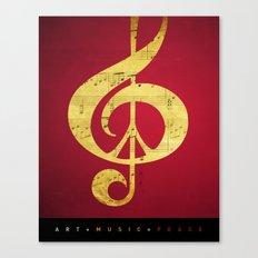 Music & Peace Sheet Music Canvas Print