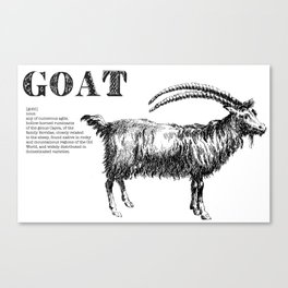 Goat Mock-Dictionary Page Canvas Print