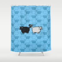 valentines Shower Curtains featuring Love Hate Valentines by Matt Mawson