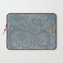 Soft Blue and Beige Circle Abstract Laptop Sleeve