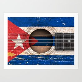 Old Vintage Acoustic Guitar with Cuban Flag Art Print