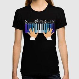 "Great Gift Shirt For Musicians ""Piano"" T-shirt Design Grand Piano Musician Music Key Chords Bass T-shirt"