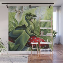 Smoking Dragon in Cannabis Leaves Wall Mural