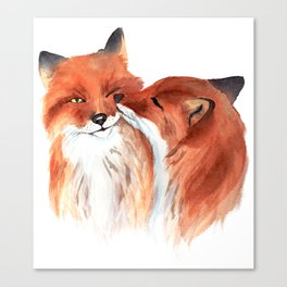 Cute foxes in love. Watercolor. Canvas Print