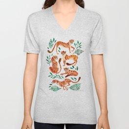 Cheetah Collection – Orange & Green Palette Unisex V-Neck