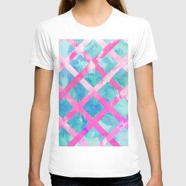 Bright Pink Purple Lattice Stripes Teal Watercolor T-shirt