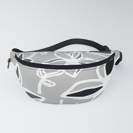 Grey Wildflowers Fanny Pack
