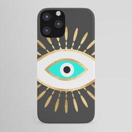 evil eye gold foil print iPhone Case