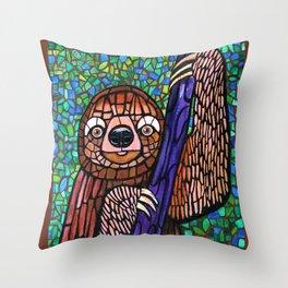 DJ Jazzy Sloth Throw Pillow