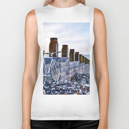 Bicycle on the Shoreline (Color) Biker Tank