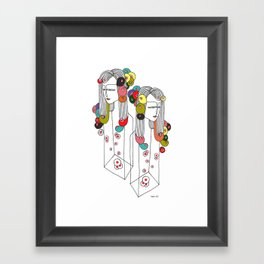 Sisters in a bottle Framed Art Print