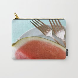 Summer Watermelon Wedge and Two Forks Carry-All Pouch