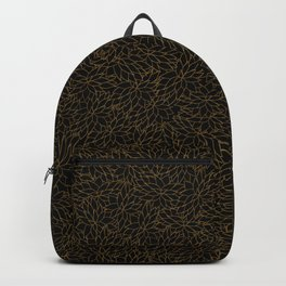 Golden black floral design Backpack