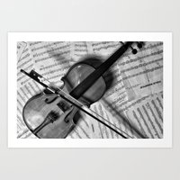 violin Art Prints featuring Violin by WHIT MORE