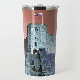 Cardiff Castle Keep-Wales Blue and Pink Travel Mug