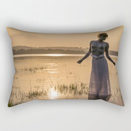 Topless Female Model At Sunset Rectangular Pillow