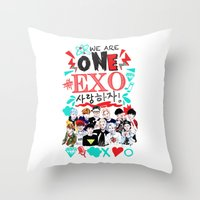 exo Throw Pillows featuring EXO WE ARE ONE! WHITE by Haneul Home