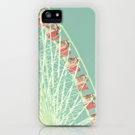 Nursery ferris wheel over mint pastel sky iPhone Case