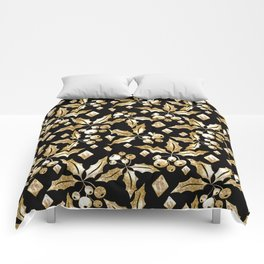 Christmas pattern.Gold sprigs on a black background. Comforters