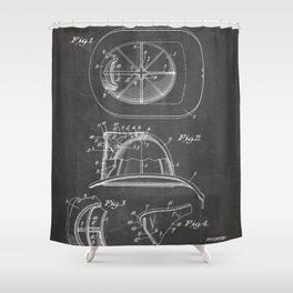 Firemans Helmet Patent - Fire Fighter Art - Black Chalkboard Shower Curtain