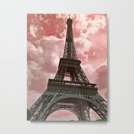 The Eiffel Tower in Pink Metal Print