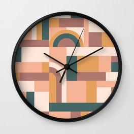 Muted Tones Blocks Wall Clock